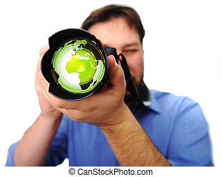 man with camera earth green lens