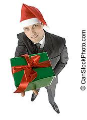 man with christmas gift