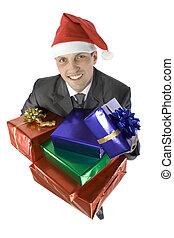 man with christmas gifts