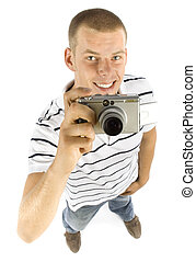 young man is takeing a picture