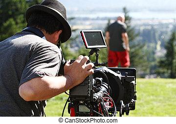 Man with digital cinema camera