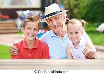 Man with grandchildren