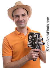 man with retro camera