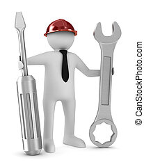Man with screwdriver and spanner on white background. Isolated 3D image