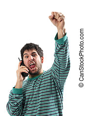 man with telephone in the pajamas, after lotto lottery news