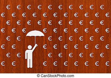 Man with umbrella standing in rain of euro, money concept