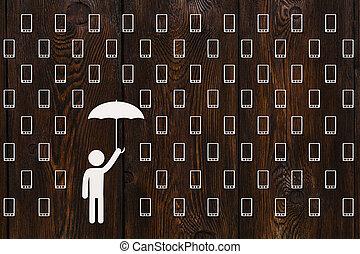 Man with umbrella standing in rain of smartphones, abstract concept