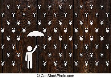 Man with umbrella standing in rain of yen, money concept