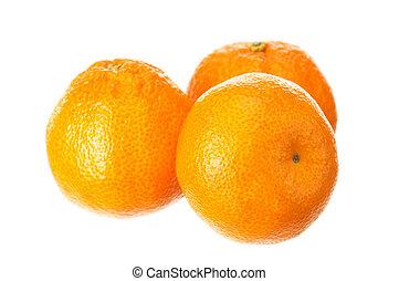 Fresh ripe mandarin fruits on white background