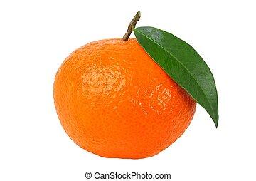 Mandarin orange with leaf isolated on white