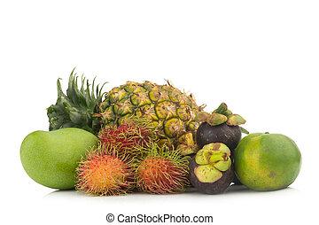 mango green. rambutan. mangosteen. orange green. pineapple. isolated on white background