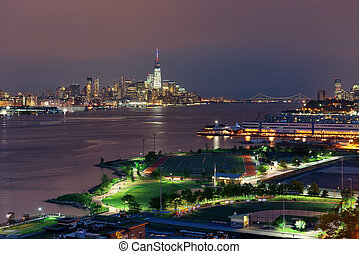 Manhattan downtown at night