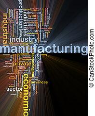 Manufacturing word cloud glowing