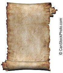 Manuscript, burnt rough roll of parchment paper texture background
