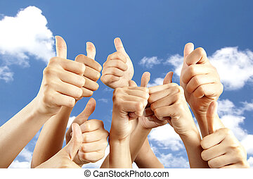 many different hands with thumb up on cloud background