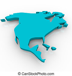 A blue conceptualized map of North America on a white background