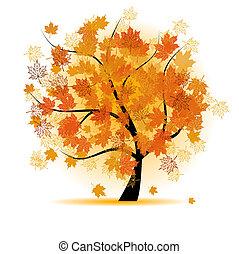Maple tree, autumn leaf fall