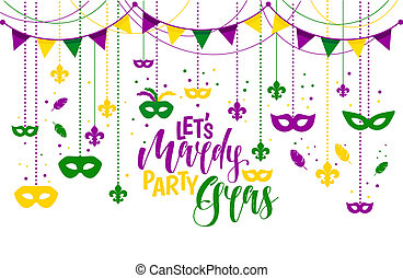 Mardi Gras colored frame with a mask and fleur-de-lis, isolated on white background. illustration.