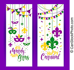 Mardi Gras colored vertical banners set with a mask and fleur-de-lis, isolated on white background. illustration.