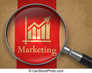 Marketing Concept: Magnifying Glass with Word Marketing and Icon of Growth Chart on Old Paper with Red Vertical Line Background.