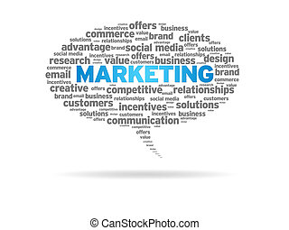 Speech bubble with the word marketing on white background.