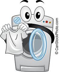 Mascot Washing Machine Handling a Clean White Shirt