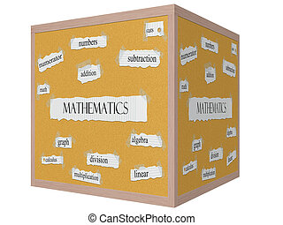 Mathematics 3D cube Corkboard Word Concept