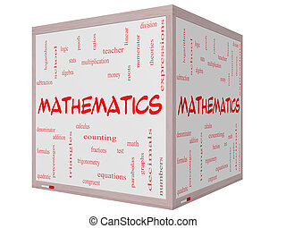 Mathematics Word Cloud Concept on a 3D cube Whiteboard