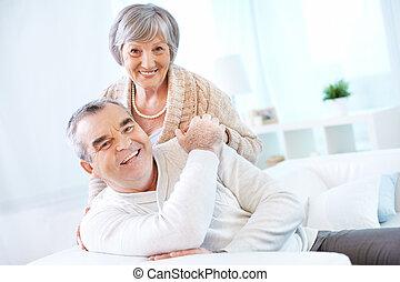 Mature man and woman