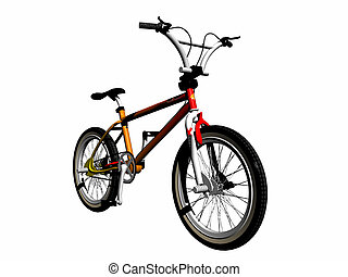 Mbx bicycle over white, 3d render illustration. Leisure bicycle for sports, competition and stunt work.