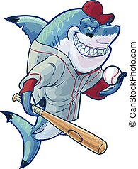 Mean Cartoon Baseball Shark