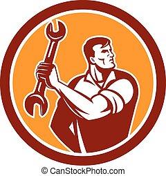 Mechanic Clinching Spanner Wrench Circle Retro