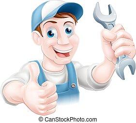 Mechanic holding spanner