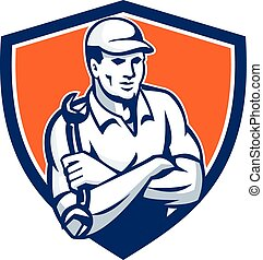 Mechanic Holding Spanner Arms Crossed Shield Retro