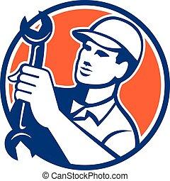 Mechanic Holding Spanner Wrench Circle Retro