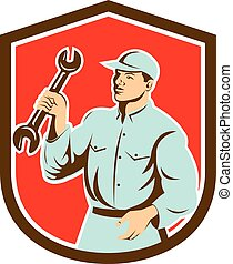 Mechanic Holding Spanner Wrench Shield Retro