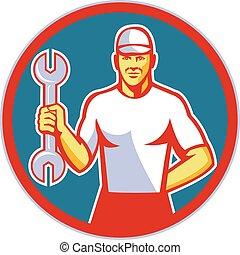 Mechanic Holding Wrench Circle Retro