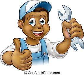 Mechanic or Plumber Handyman With Spanner