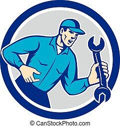 Mechanic Shouting Holding Spanner Wrench Circle Retro