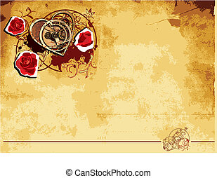Vintage paper background with vignette with mechanical heart and roses