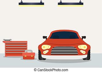 mechanical workshop with car scene