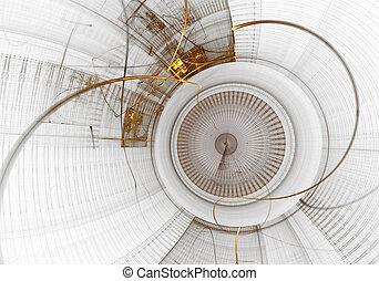 Mechanism, Ancient Golden Cogwheel on White Background