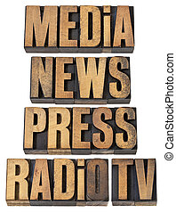 media, news, press, radio and tv - a collage of isolated words in vintage letterpress wood type