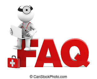 Medic sitting on FAQ sign. Frequently asked questions concept. Isolated