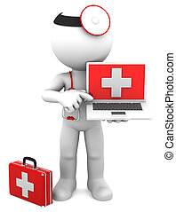 Medic with laptop. Isolated on white