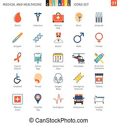 Medical Colorful Icons Set 01