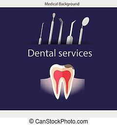 Medical dental background. Teeth, dentist tools and instruments. Vector illustration
