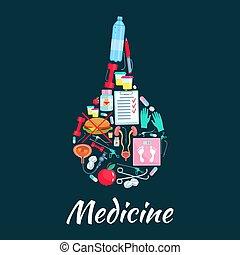 Medical enema symbol with dietetics medicine icons