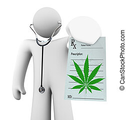 A doctor holds a blank prescription showing a cannabis leaf, symbolizing using marijuana as medicinal theraphy