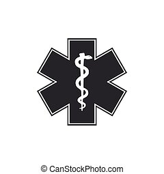 Medical symbol of the Emergency - Star of Life icon isolated. Flat design. Vector Illustration